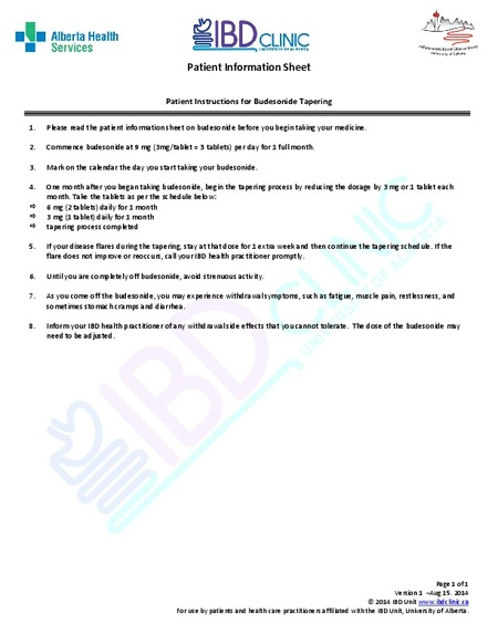 Budesonide Tapering Patient Instructions Ibd Clinic