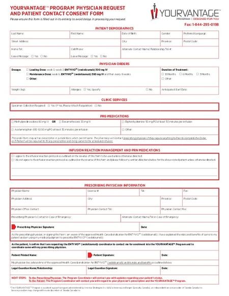 Vedolizumab Entyvio Enrollment Form  Ibd Clinic